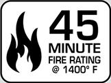 Fire Rating: 45 min @ 1400°F